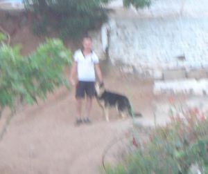 "Our Neighbor with His Dog, ""Tony"""