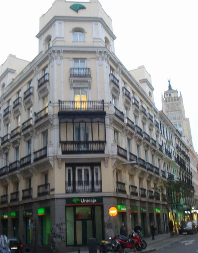 Impressive Building Holding the Juncture of Two Streets in downtown Madrid