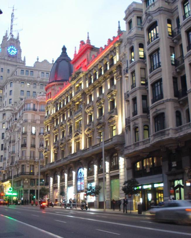 The Gran Via Lights Up as Dusk Comes On