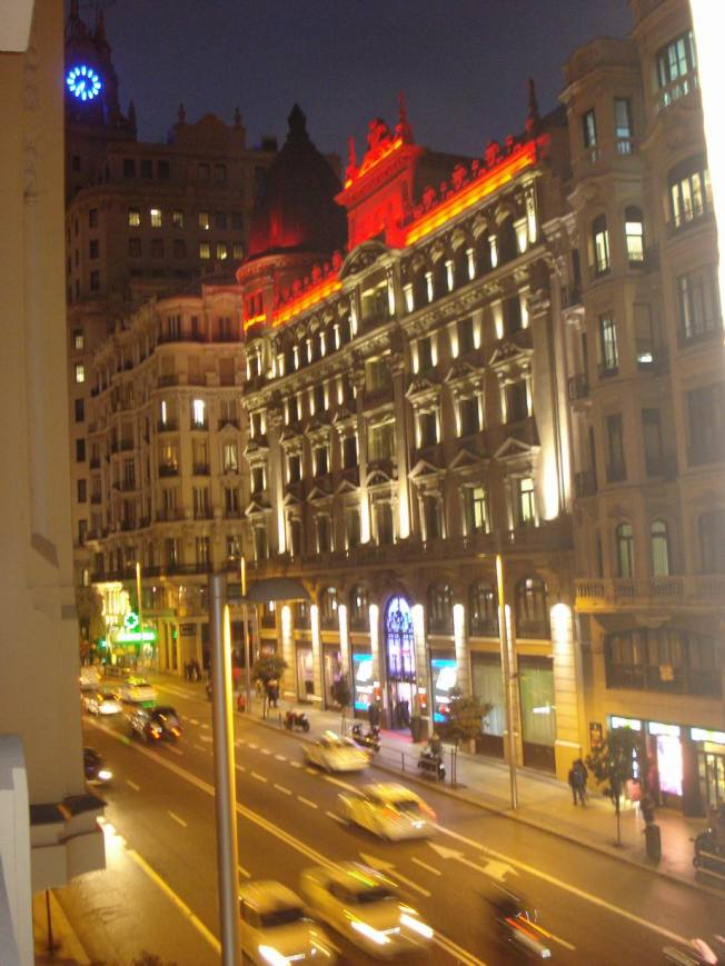 Gran Via at Night from Our Hotel Balcony
