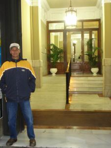 Tomas at the Entrance to our Hotel in Madrid